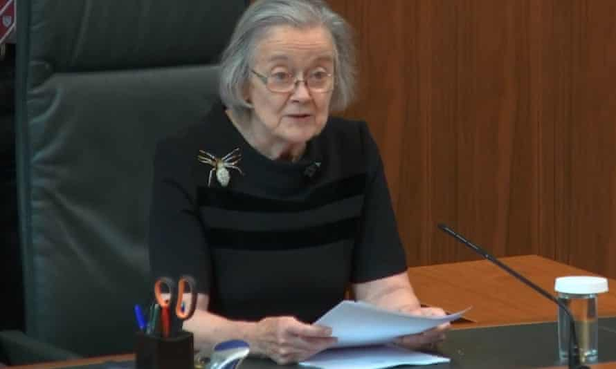 Lady Hale at the supreme Court in London at the 2019 hearing that overruled the Johson government's prorogation of parliament.