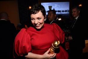Olivia Colman at the HFPA Golden Globes gathering