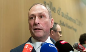 UBS legal expert Markus Diethelm speaks to media at the court in Paris, on 20 February.