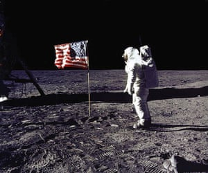 Edwin E 'Buzz' Aldrin Jr congratulates the US flag on the moon's surface during Apollo 11's mission.