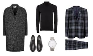Smart dinnerCoat £85, and suit, £250, Lochcarron x Topman both topman.com, roll neck, £35, marksandspencer.com, shoes, £91, camper.com, watch £225, Larsson and Jennings from endclothing.com