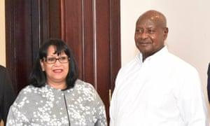 Lady Verma with the Ugandan president, Yoweri Museveni.
