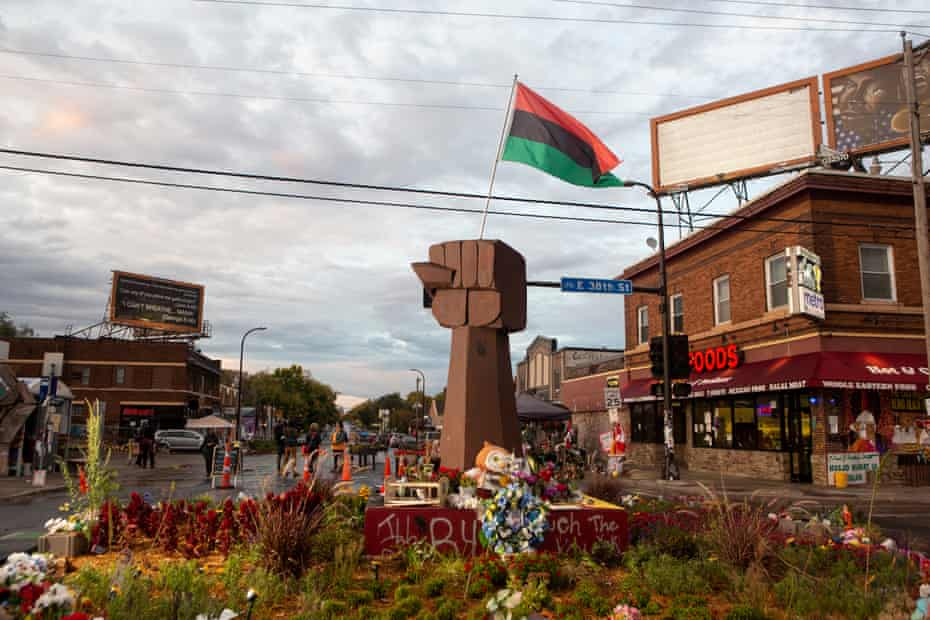 At the intersection of 38th Street and Chicago Avenue, sits a memorial for George Floyd.