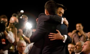 Ed Miliband hugs his brother David Miliband after being elected the new Labour leader.