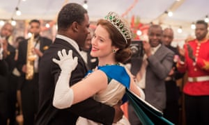 Danny Sapani as President Nkrumah with Claire Foy as Elizabeth II.
