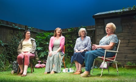 From left: Linda Bassett (Mrs Jarrett), Deborah Findlay (Sally), Kika Markham (Lena) and June Watson (Vi) in Escaped Alone by Caryl Churchil