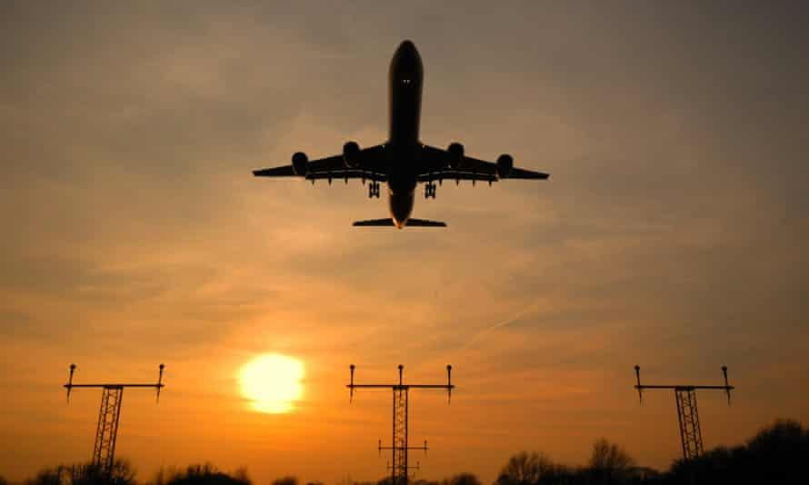 An Airbus A340 heads towards Heathrow