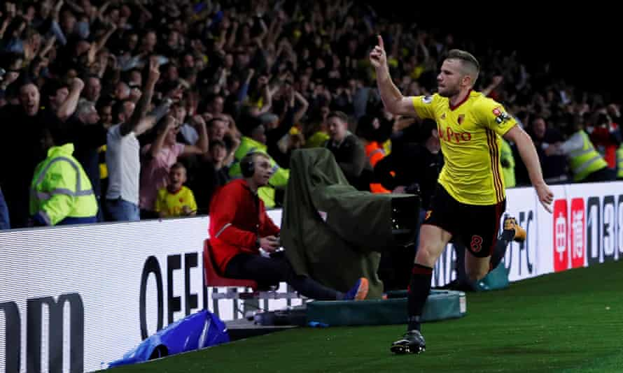 Tom Cleverley enjoys his winner against Arsenal, and so do the Watford fans.