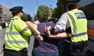 London police make an arrest.