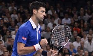 Novak Djokovic reacts to his early break of serve.