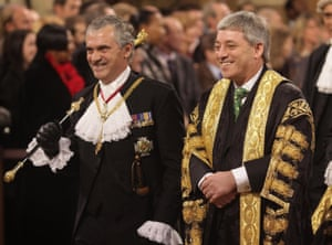 John Bercow with Black Rod, Sir Freddie Viggers, during the state opening of parliament in 2009