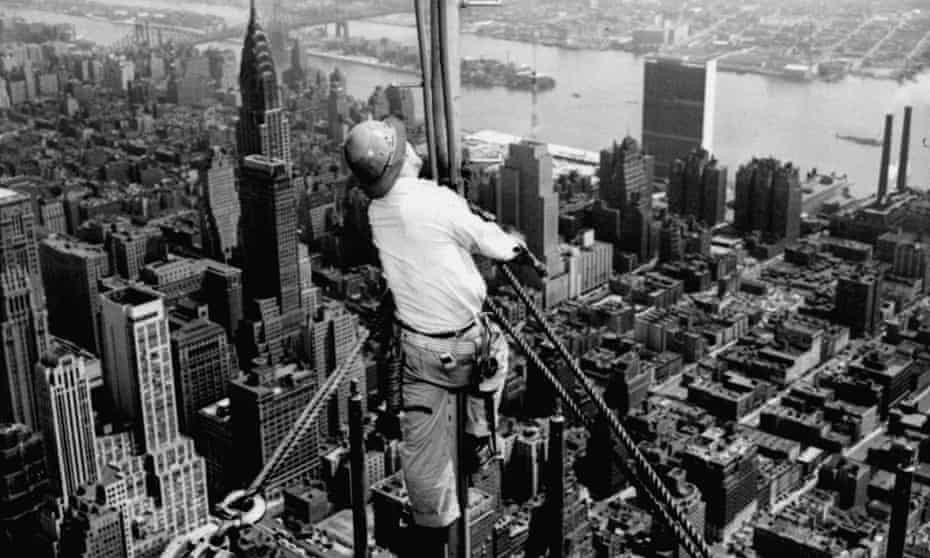 Worker on the television tower of the New York City's Empire State Building in 1950.