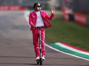 Imola, Italy Lewis Hamilton rides a scooter round the circuit ahead of the F1 Grand Prix of Emilia Romagna at Autodromo Enzo e Dino Ferrari