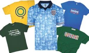 Clockwise from top left: Ayrton Senna helmet design T-shirt, England football team 1990 blue third shirt, Milan-San Remo t-shirt; Philosphy football 32 flags t-shirt and Douglas Jardine quote t-shirt.