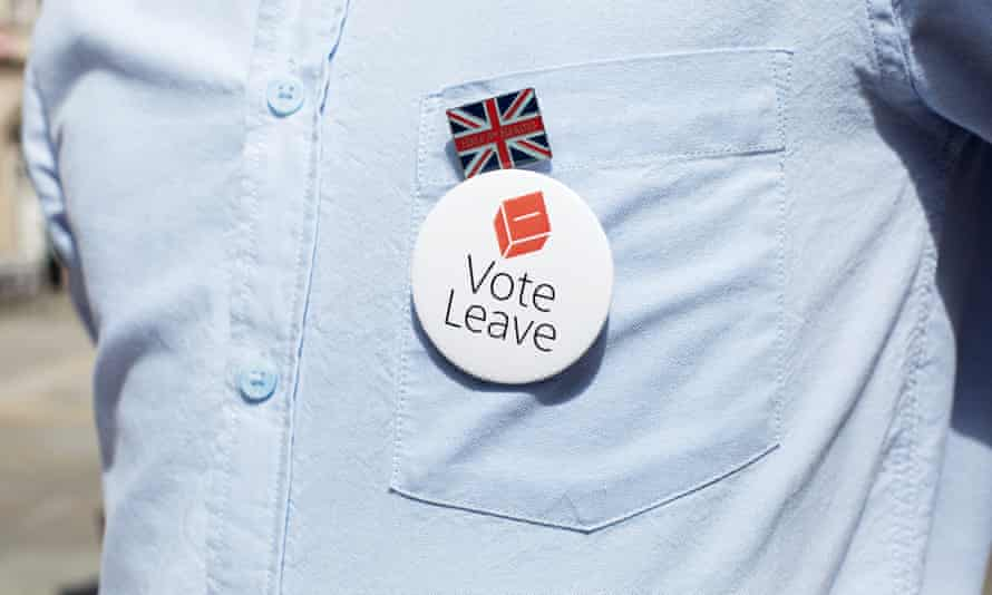 British flag and Vote Leave badge