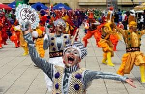 All smiles: dancers enjoy a parade