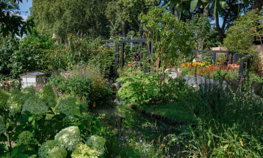 """The """"mitigation"""" quarter of the garden includes bee-hives and pollinator-friendly plants"""