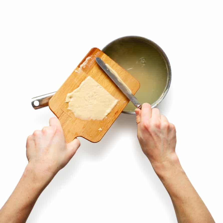 Spread the batter over a board in batches, cut off a strip, scrape into boiling salted water, and repeat.