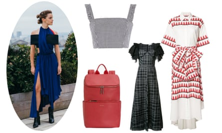 (Clockwise from left) Emma Watson wearing a Louis Vuitton dress made from Newlife recycled polyester; Nobody's Child gingham bralet; Tome SS17 dress; another Tome SS17 dress; a vegan rucksack from Matt & Nat.