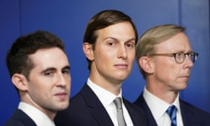 Trump's son-in-law and White House adviser Jared Kushner, centre, at a press briefing on the Israel-UAE agreement on 13 August 2020.