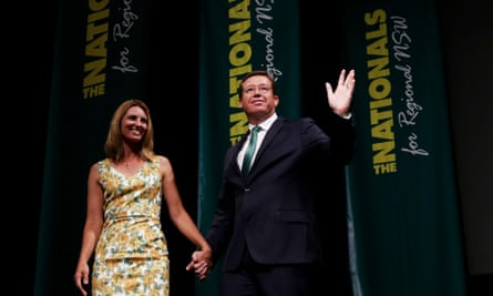 NSW Nationals Leader Troy Grant with his wife at the Nationals 2015 launch in Dubbo in the NSW central west on Sunday, March 15, 2015. (AAP Image/Nikki Short) NO ARCHIVING