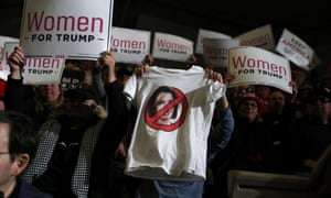 A T-shirt depicting the House speaker, Nancy Pelosi, in a No symbol among 'Women for Trump' signs, at a campaign rally in Wildwood, New Jersey, on 28 January 2020.