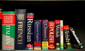 Language dictionaries on a shelf