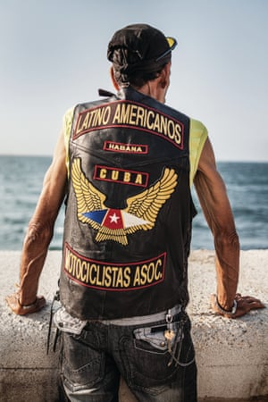 A member of Latino Americanos motorcycle club in Havana