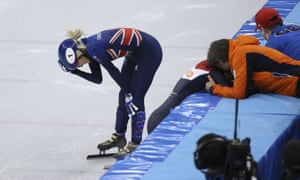 Elise Christie after crashing out.