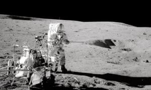 An Apollo 14 astronaut on the moon in 1971