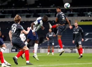 Tottenham Hotspur's Moussa Sissoko scores their first goal.