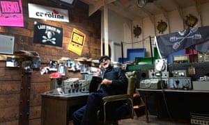 DJ Emperor Rosko his studio onboard a replica of the original 1960s pirate Radio Caroline