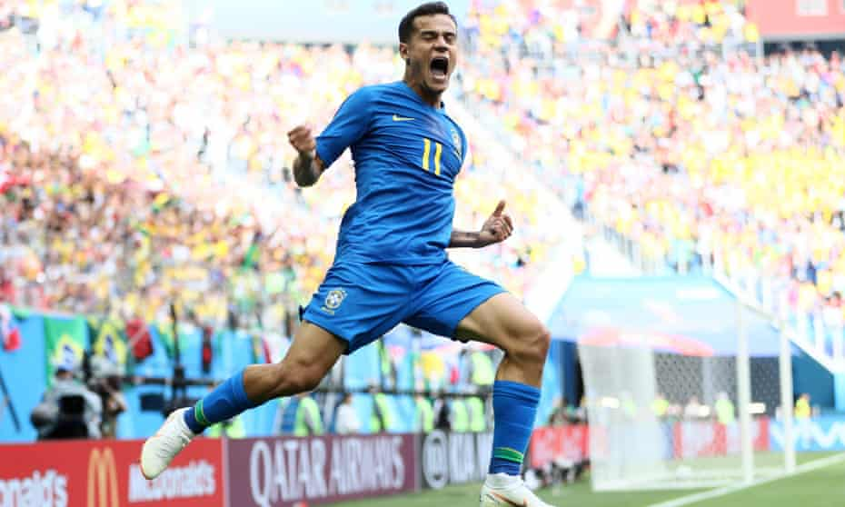 Philippe Coutinho celebrates putting Brazil 1-0 up against Costa Rica at the Saint Petersburg Stadium in added time