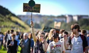 Activists in Edinburgh join the global climate strike.