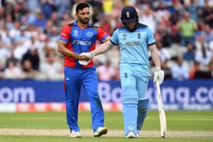 Eoin Morgan is congratulated by Afghanistan's captain Gulbadin Naib after his dismissal.
