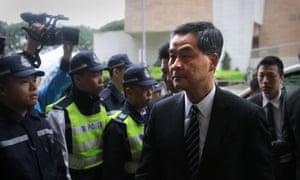 Leung Chun-ying, Hong Kong's chief executive, arrives at court.