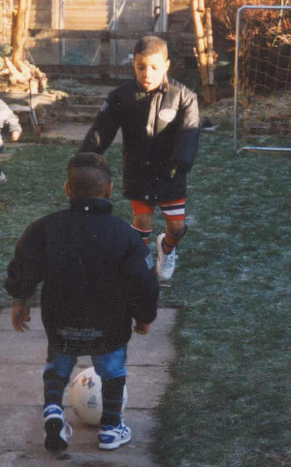 Troy Deeney playing garden football growing up in Birmingham.