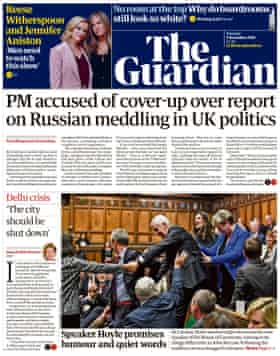 Guardian front page, Tuesday 5 November 2019