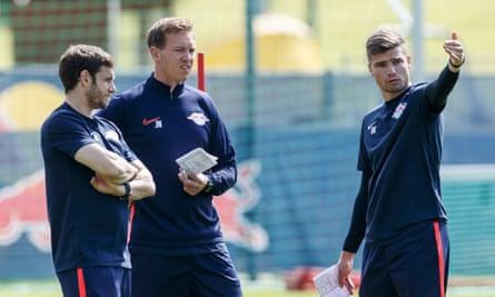 RB Leipzig's Moritz Volz (left), Julian Nagelsmann (centre) and Robert Klauss discuss strategies during last month's training camp in Austria.