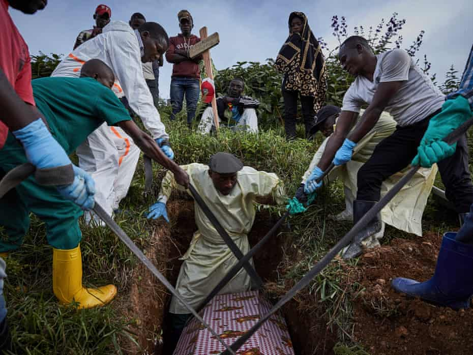 Ebola victims being buried