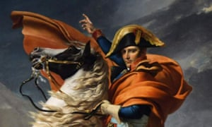 Detail of a painting of Napoleon on horseback wearing a red cloak