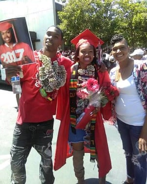 Richard Doss (left) with his sister Alandria Doss (center), and mother Alicia Hill (right). Richard Doss was shot and killed while driving in his car on a Richmond street in June 2018.