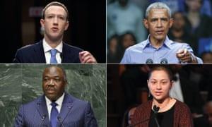 Mark Zuckerberg, Barack Obama, Emma Gonzalez and Ali Bongo.