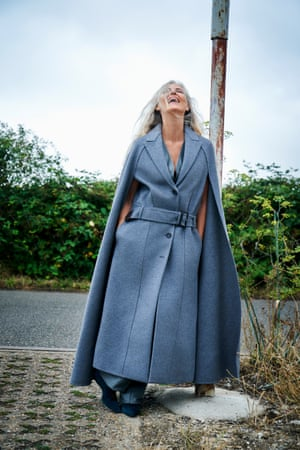 Blue wool and cashmere cape, leather waistcoat, leather trousers and boots all ferragamo.com