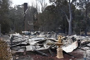 A burnt-out house in Sarsfield, Victoria.