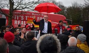 Jeremy Corbyn speaking at the Blackrod Community Centre in Bolton.
