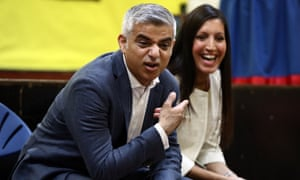 London mayor Sadiq Khan (L) and Rosena Allin-Khan, a doctor and local Labour councillor selected to stand in Tooting after Sadiq Khan became London mayor, chat with pupils during an assembly as they visit to Trinity St Mary's Primary School in Balham on June 6, 2016 in London, England. Mrs Allin-Khan will stand in the by election on 16 June that was triggered when Mr Khan became London mayor. (Photo by Carl Court/Getty Images)