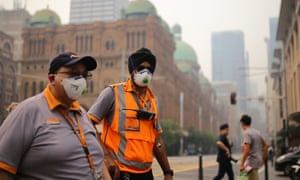 Transport NSW workers wear smoke masks