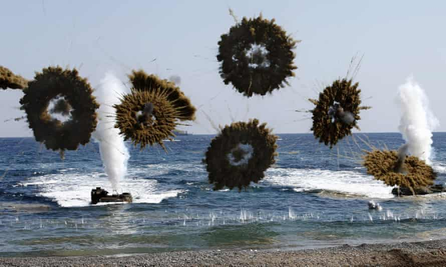 Exercises by US and South Korean marines in Pohang, about 200 miles south-east of Seoul.