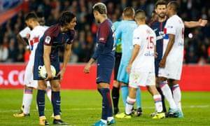 Neymar pops up for a word in front of the regular penalty taker Edinson Cavani after a spot kick was awarded against Lyon and from which the Uruguayan was eventually denied by a fine save.